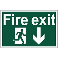 Spectrum Industrial Fire Exit RM Arrow Down S/A PVC Sign 300x200mm