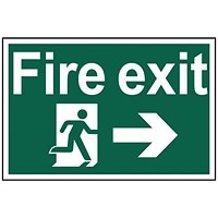 Spectrum Industrial Fire Exit RM Arrow Right S/A PVC Sign 300x200mm