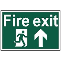 Spectrum Industrial Fire Exit RM Arrow Up S/A PVC Sign 300x200mm
