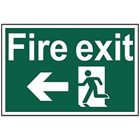 Spectrum Industrial Fire Exit RM Arrow Left S/A PVC Sign 300x200mm