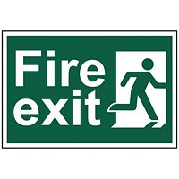 Spectrum Industrial Fire Exit RM Right S/A PVC Sign 300x200mm