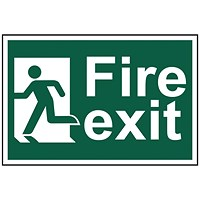 Spectrum Industrial Fire Exit RM Left S/A PVC Sign 300x200mm