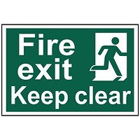 Spectrum Industrial Fire Exit RM Keep Clear S/A PVC Sign 300x200mm