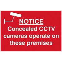 Spectrum Industrial Concealed CCTV Cameras S/A PVC Sign 300x200mm