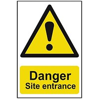 Spectrum Industrial Danger Site Entrance S/A PVC Sign 400x600mm
