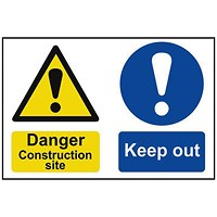 Spectrum Industrial Danger Construction Site S/A PVC Sign 600x400mm