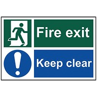 Spectrum Industrial Fire Exit Keep Clear S/A PVC Sign 300x200mm