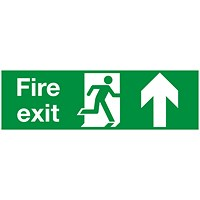 Safety Sign Fire Exit Running Man Arrow Up 150x450mm PVC