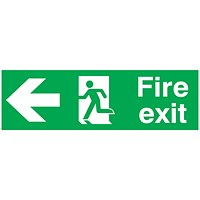 Safety Sign Fire Exit Running Man Arrow Left 150x450mm PVC