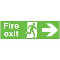 Safety Sign Niteglo Fire Exit Running Man Arrow Right 150x450mm PVC