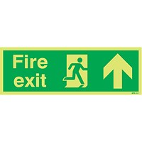 Safety Sign Niteglo Fire Exit Running Man Arrow Up 150x450mm PVC