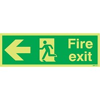 Safety Sign Niteglo Fire Exit Running Man Arrow Left 150x450mm PVC
