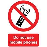 Safety Sign Do Not Use Mobile Phones A5 Self-Adhesive