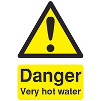 Safety Sign Danger Very Hot Water 75x50mm PVC