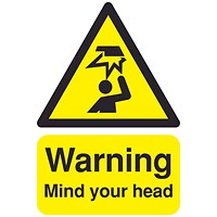 Safety Sign Warning Mind Your Head A5 PVC