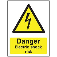 Safety Sign Danger Electric Shock Risk A5 PVC