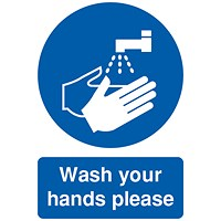 Safety Sign Wash Your Hands Please, A5 PVC