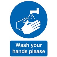 Safety Sign Wash Your Hands Please, A5 Self-Adhesive