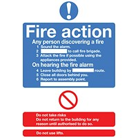 Safety Sign Fire Action Standard A5 Self-Adhesive