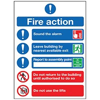 Safety Sign Fire Action Symbol A5