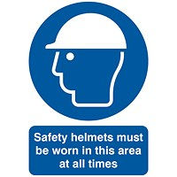 Safety Sign Safety Helmets Must be Worn A4 PVC