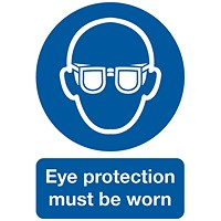 Safety Sign Eye Protection Must be Worn A4 PVC