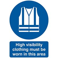 Safety Sign High Visibility Clothing Must be Worn A4 PVC