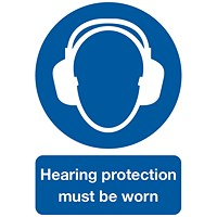 Safety Sign Hearing Protection Must be Worn A4 PVC