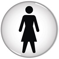 Domed Sign Women Symbol 60mm (Self-Adhesive Backing, Black Figure on White Background)