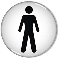 Domed Sign Men Symbol 60mm (Self-Adhesive backing, black figure on white background)