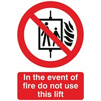 Safety Sign In The Event of Fire Do Not Use This Lift