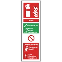 Safety Sign Fire Extinguisher Water 280x90mm Self-Adhesive