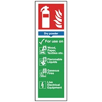 Safety Sign Fire Extinguisher Dry Powder 280x90mm Self-Adhesive