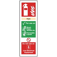 Safety Sign Fire Extinguisher Foam 300mm x 100mm Self-Adhesive