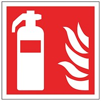 Safety Sign Fire Extinguisher Symbol 100x100mm Self-Adhesive (Pack of 5)