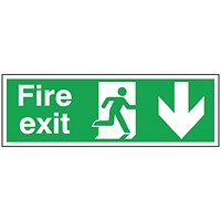 Safety Sign Fire Exit Running Man Arrow Down 150x450mm Self-Adhesive