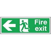 Safety Sign Fire Exit Running Man Arrow Left 150x450mm Self-Adhesive