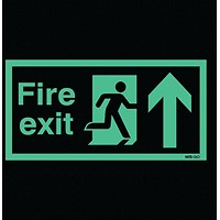 Safety Sign Niteglo Fire Exit Running Man Arrow Up 150x450mm Self-Adhesive