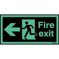 Safety Sign Niteglo Fire Exit Running Man Arrow Left 150x450mm Self-Adhesive