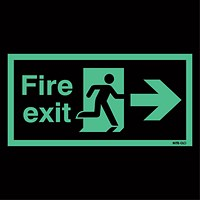 Safety Sign Niteglo Fire Exit Running Man Arrow Right 150x450mm Self-Adhesive