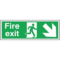 Safety Sign Fire Exit Running Man Arrow Down/Right 150x450mm Self-Adhesive