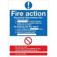 Safety Sign Fire Action Words A4 Self Adhesive