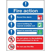 Safety Sign Fire Action Symbols A4 PVC