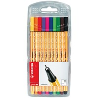 Stabilo Point 88 Fineliner Pen, 0.4mm Line, Assorted, Pack of 10
