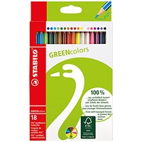 Stabilo Green Colours Colouring Pencils (Pack of 18)