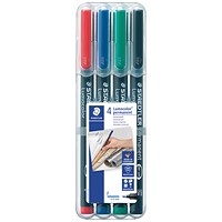 Staedtler Lumocolour Pen Permanent Fine Assorted (Pack of 4)