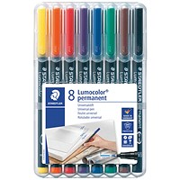 Staedtler 318 Lumocolor Permanent Pen, Fine, Assorted Colours, Wallet of 8