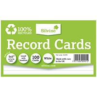 Silvine Climate Friendly Lined Record Cards 5 x 3in