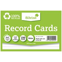 Silvine Climate Friendly Lined Record Cards 6 x 4in
