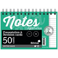 Silvine Revision Presentation/Note Card Twin Wht (Pack of 10) PADRC64-C